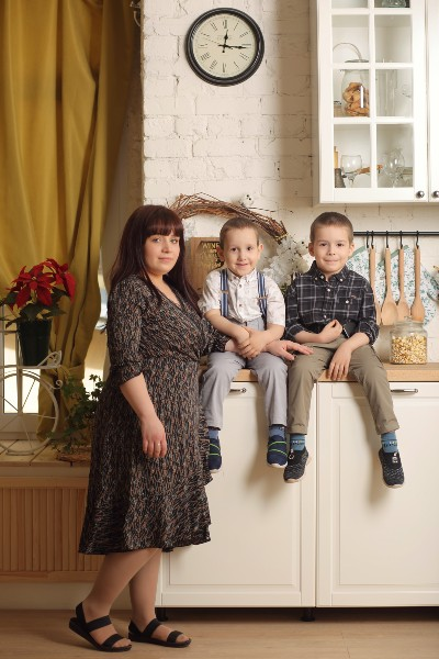 Катя с сыновьями