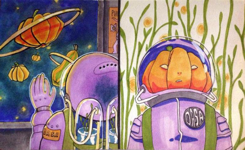 Тыквоголовые пришельцы на иллюстрации Дарьи Лазиной