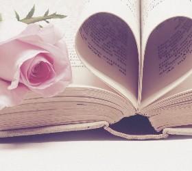 Листочки книги, сложенные сердечком и роза