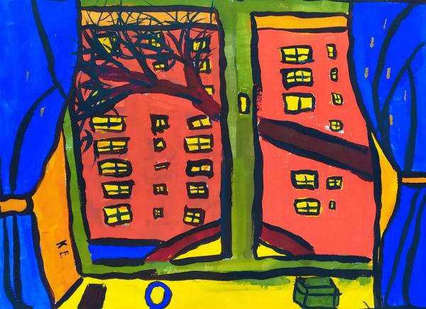 Вид из окна на картине Елизаветы Кузнецовоц