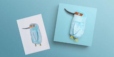 Эскиз и игрушка пингвин
