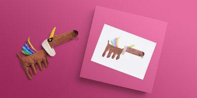 Эскиз и игрушка собака