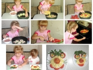 Первое, почти самостоятельное, приготовление фаршированных кабачков нашей дочери.